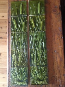 Original Embossed Bulrush tile panels $450