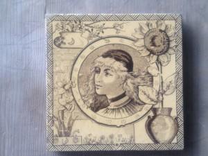 Single Minton c1870 Cameo tile $140