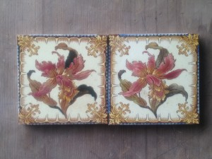 2 x Hand painted Floral Victorian Hearth tiles c1890 $160