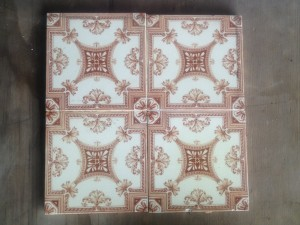 4 x Sepia patterned tiles c1895 $160