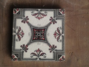 Single Victorian Black & red Patterned hearth tile $30