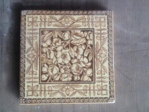 Single Victorian sepia patterned hearth tile c1890 $50