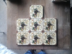 7 Victorian c1890 Handpainted Tiles $300