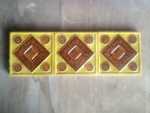 3 Embossed Victorian Hearth tiles c1880 $240