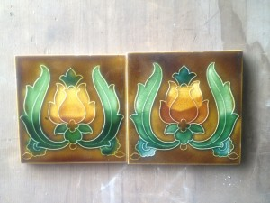 Pair c1910 Art Nouveau Tiles $180