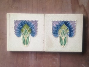 Pair c1910 art nouveau feature Tiles with cream background $160