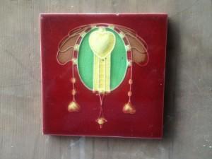 c1915 Art Nouveau red feature Tile $30