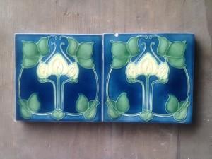 Pair Blue Art Nouveau c1905 $180 pair