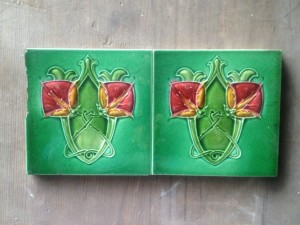 Pair Art Nouveau c1910 (Some chipping on one tile ) $120 pair