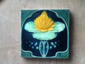 Embossed C1910 Art Nouveau Lily Tile $90