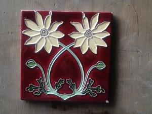"Tubeline Flannel Flower 6x6"" english tile $55"