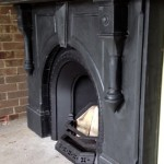 Victorian arched Black slate mantle side view